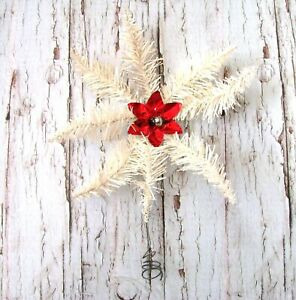 Antique German White Tinsel Star Tree Topper Rare 1920s Christmas Star