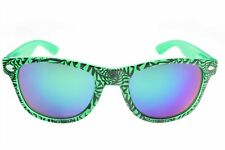 80's Sunglasses Dazed Rock Horn Rim Classic Mirror Lens Party Green Green