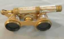 Vintage Iris Paris Mother of Pearl and Brass Opera Glasses with Handle