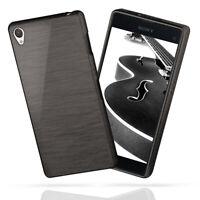 Silicone Coque pour Sony Xperia Z1 Brushed Steel Aluminium Look TPU Etui Neuf