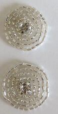 2 Rhinestone Beads iron on motif Buttons Flatback Embellishment DIY Sewing Craft