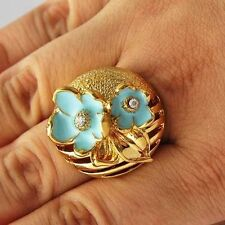 Womens 14K Gold Plated Blue Enamel Flower crystal big Band Promise Ring Size 7