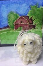 Knitted White Sheep Christmas Ornament Handcrafted Crochet Animal