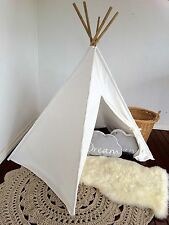 Kids Teepee White - POLES INCLUDED cubby tent playhouse tipi