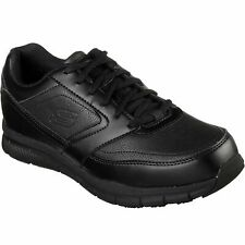 Skechers Mens 77156 Nampa Memory Foam Slip Resistant Black Lace Up Work Shoes