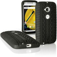 Black Tyre Silicone Gel Skin Case for Motorola Moto E 2 Gen XT1524 Rubber Cover