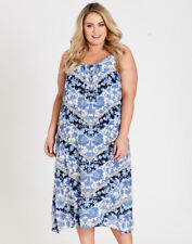 Autograph Blue white summer beach holiday  floral Lace neck Trapeze DRESS 20 NEW