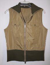 Columbia Womens Size M XCO Reversible Sleeveless Zip Up Tan Khaki Green Vest