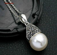 18k White Gold Plated Made with Swarovski Crystal White Pearl Necklace N220