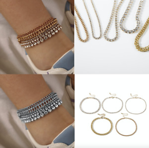 5 Pcs Set Ankle Chain Diamond Crystal Multi Layers Anklet Charm Bracelet