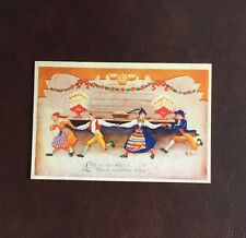 Sweden Vintage Christmas Greetings Card