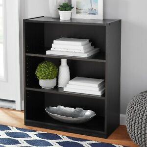Adjustable Bookcase Black solid wood 3 tier shelves storage book display mini