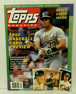 1990 Winter Topps Magazine Canseco 2 Cards Inside - NrMt