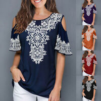 Women Summer Crew Neck Printed Short Sleeve Loose Blouse Cold Should Shirt Tops