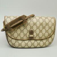GUCCI Vintage GG Pattern PVC Canvas Crossbody Shoulder Bag Purse Brown Beige