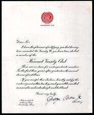 1920's Harvard Varsity Club Letter Autographed by George Owen Jr. d. 1986 Bruins