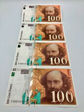 4 CONSECUTIVE UNCIRCULATED FRANCE 100 CENT FRANCS BANKNOTES