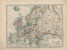 1902 MAP ~ EUROPE BRITISH ISLES FRANCE RUSSIA AUSTRIA HUNGARIAN MONARCHY GREECE