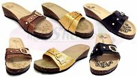 Womens Single Buckle Wedge Heel Mules Sandals Beach Shoes Slip On Slippers Size