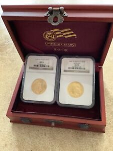 2008-W Double Prosperity Set . Burnished $25 Eagle & Buffalo . Both Coins MS70