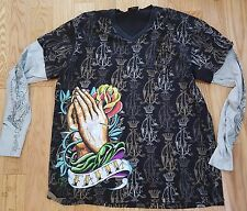 ED HARDY CHRISTIAN AUDIGIER 3XL XXXL Long Sleeved JESUS MARY Tattoo T-shirt RARE