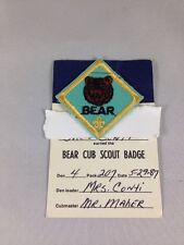 Vintage Cub Scouts Bear Cub Scout Badge - With Printed Card 1980's