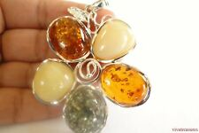 5.89g Flower Key Authentic Baltic Amber 925 Sterling Silver Pendant N-A691B