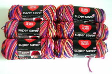 Lot of 6 Skeins, Red Heart Super Saver Yarn, Several Colors