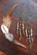 Stunning Handmade Bronze Antique Heart & Citrine Stone Chip Bead Dangle Earrings