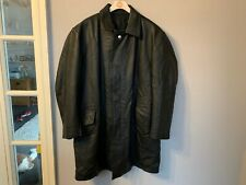 VINTAGE 60's FRENCH DISTRESSED HEAVY LEATHER DETECTIVE'S COAT JACKET SIZE XXL