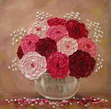 Flowers in a Vase Original Textured oil painting Floral still life 20 x 20 in