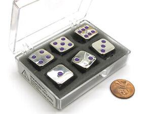 Box of 6 Zinc Metal Alloy D6 15mm Heavy Dice - Purple Pips