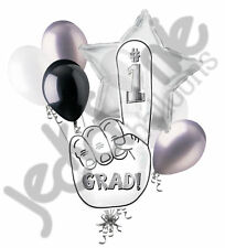 7 pc White #1 Finger Congrats Grad Balloon Bouquet Party Decoration Graduation