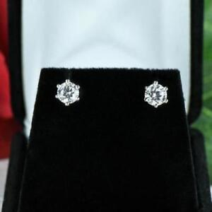 1.20 Carat Pair Of Real Diamond Studs 950 Platinum Women's Beautiful Earrings