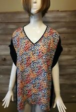 Nue Options Women's Short Sleeve Top-Career/Casual-Small Floral/Black/-Size 1X