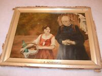 19TH CENTURY OIL ON CANVAS A VIEW OF A GIRL AND WOMAN BY G. ACHENBACH