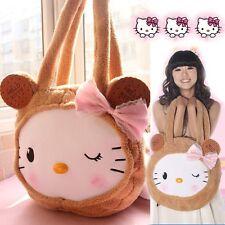 JK Cute Lolita Ladies Handbag Hello Kitty Bowknot Plush Shoulder Bag School Bag