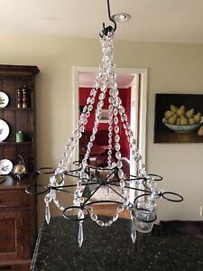 Gorgeous Crystal & Bronze Votive chandelier
