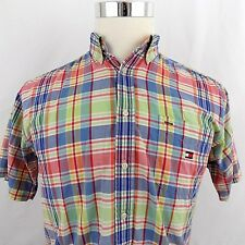 Vtg Tommy Hilfiger Youth XL (Men's Small) Plaid Checks S/S Button Front Shirt