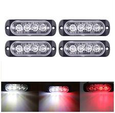 4Pc 4-LED Light Flash Emergency Car Vehicle Warning Strobe Flashing White Red