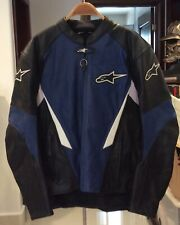 Alpinestars Men's Leather Motorcycle Jacket Size L Blue, Black, and White