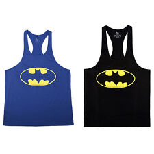 Men's Batman Printed Bodybuilding GYM Singlet Top Shirt Y-Back Muscle Vest