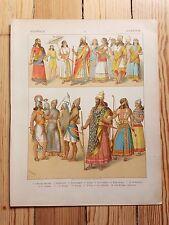 Assyrian Costume - 1882 - Fashion History, Original Print, chromolithograph Art