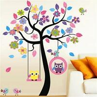 Large Owl Swing Tree Removable Vinyl Wall Sticker For Kids Nursery Bedroom Decal