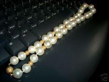 "20"" Faux Pearl & 14K Gold Bead Necklace Original Design"
