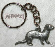 FERRET Pet Fine PEWTER Keychain Key Chain Ring NEW