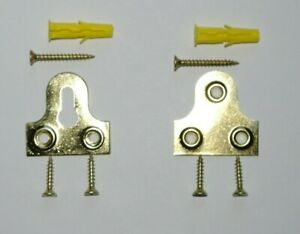 Picture frame hanging Kit, Mirror Plate Slotted or Plain Plates Brassed