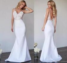 New Spaghetti Straps Beach Wedding Dress Applique Lace Satin Mermaid Bridal Gown