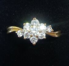 9ct Gold CZ Daisy Cluster Ring, Size O