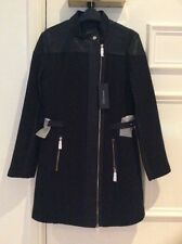 Guess Marciano Ladies Black Coat With Faux Leather Trimming NWT Size 42